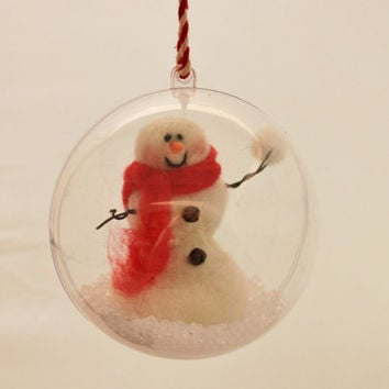 Needle felted Snowman Ornament Snow Globe, Snow man ornie 4 inch# 320