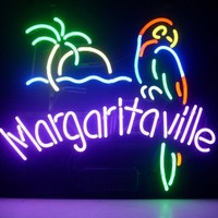 NEW JIMMY BUFFETT MARGARITAVILLE PARADISE PARROT REAL NEON LIGHT BEER SIGN