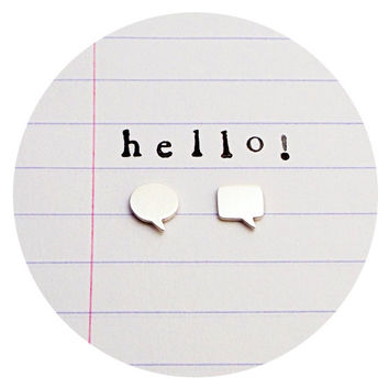 Speech Bubble Studs | Sterling silver speech bubble stud earrings / speech bubbles / comic book / studs / eco silver / eco-friendly jewelry