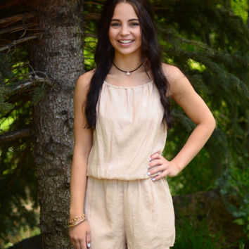 Make My Day Romper- Taupe
