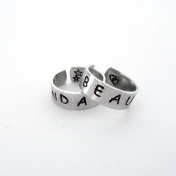 Beauty and a Beat - Hand Stamped Rings - A Pair of Friendship Rings - Justin Bieber Inspired Customizable