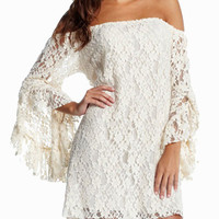 White Angel Sleeve Off Shoulder Floral Lace Mini Dress