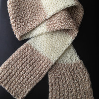 Tan and Ivory Hand Knit Scarf