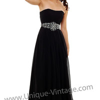 Black Chiffon Empire Waisted Beaded Prom Gown