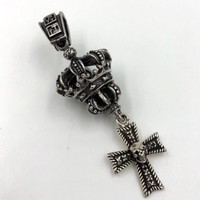 3D Crown Cross Skull Sterling Silver Pendant