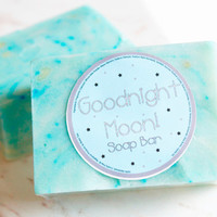 Goodnight Moon Cold Process Soap Bar! Handmade Soap 4oz! Floral Powder Scent!