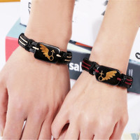 Fashion Punk Retro Alloy PU Leather Couples lovers Bracelet Valentine's Day Gift