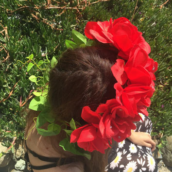 Red roses with rhinestones and leaves flower crown