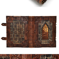"Large leather journal, ""A tale from Transylvania"", gothic style, with 640 pages and 7.9x11inch (20.5x28cm), in gift box."