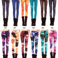 2013 Womens Punk Rock Galaxy Cosmic Space Tie Dye Print Tights Pants Leggings