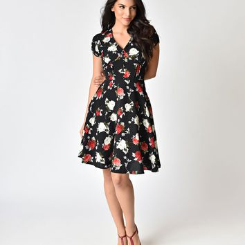 Hell Bunny 1940s Style Black Floral Crepe Valentina Swing Dress