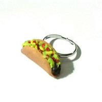 Taco Ring, Miniature Food Jewelry, Kawaii Rings, Taco Tuesday, Gifts For Foodies, Taco Charm, Food Rings, Realistic Food Jewelry