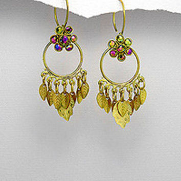 The Honey Chandelier Brass & Crystal Earrings