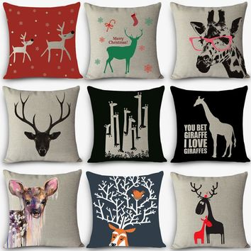 "Quality cushions Christmas deer Printed Home Decorative Throw Pillow 18"" Vintage Cotton Linen bedding Pillows pillowcase MYJ-A8"