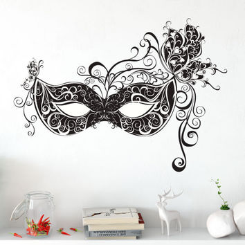 Masquerade Mask with Butterfly Scrolls Silhouette Vinyl Wall Words Decal Sticker Graphic