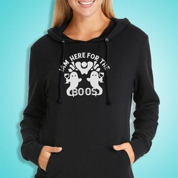 I'M Here For The Boos With Twin Ghosts Halloween Costume Halloween Party Women'S Hoodie