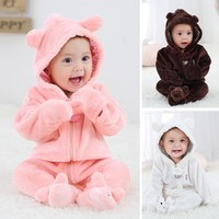 Newborn Baby Infant Kid Boy Girl Romper Hooded Jumpsuit Bodysuit Outfits Clothes