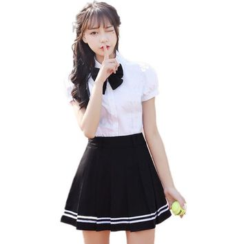 Japanese School Uniforms Set Women Summer Short Seeve White Shirt + Black Skirt + Bow Korean Students Uniform Clothes For Girls