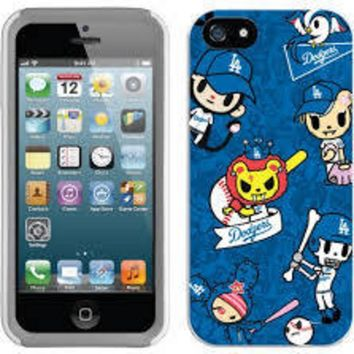 Major League Baseball-Coveroo MLB Los Angeles Dodgers Tokidoki Pattern Design iPhone 5 5s Thinshield Snap-On Case