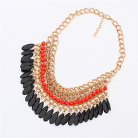 Popular fashion magazine exaggerated multicolor Bohemian elegance drops necklace
