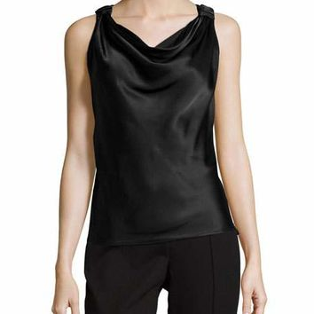 Knotted-Strap Cowl-Neck Tank, Black