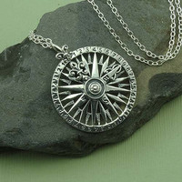Compass Necklace - 925 sterling silver - navigational jewelry - pedant