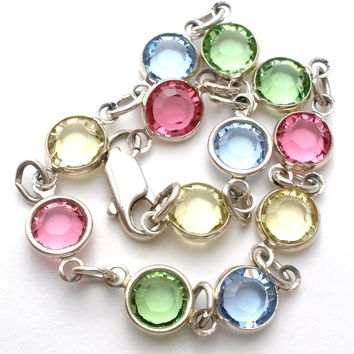 Vintage Multi Color Crystal Bracelet 7.5""