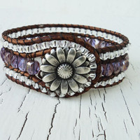 Leather Cuff Bracelet, Purple and Silver Beaded Wrap Cuff, Country Western, Cowgirl Jewelry, Boho  Glam, Bohemian Style