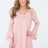 Lace Inset Bell Sleeve Dress - Blush