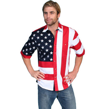 Scully Mens American Patriotic Colorblock Short Sleeve Shirt