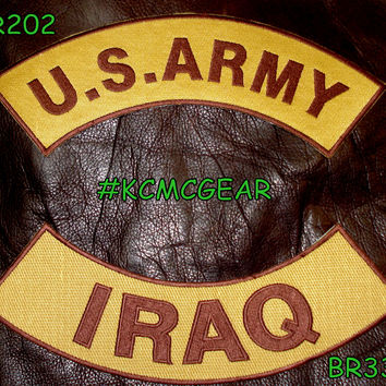 U.S. Army Iraq Embroidered Patches Brown & Gold Military Patch Set for Jackets