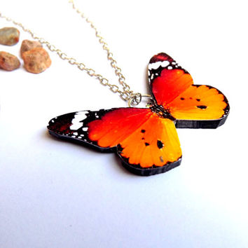 SALE = African monarch butterfly necklace, Monarch butterfly, Butterfly jewelry, Insect jewelry, Butterfly pendant, Wing jewelry, Butterfly