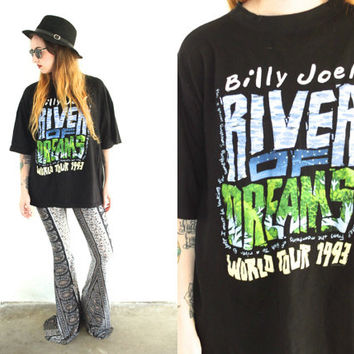 Vintage 90s BILLY JOEL River of Dreams Tour Black T Shirt Tee // Hipster Grunge // Small / Medium / Large