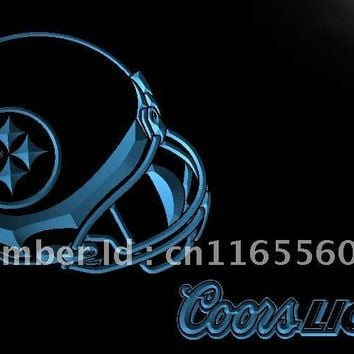 LD474- Pittsburgh Steelers Helmet Coors LED Neon Light Sign home decor shop crafts