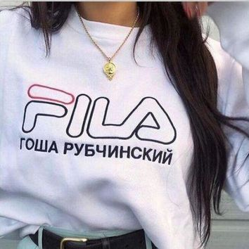 LMFON FILA Lady Men Round Collar With A Loose Long Sleeve Sweater Top