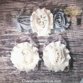 Baby Girls Fancy Gray and Cream Shabby Flowers, Rhinestones and Pearls on Gray Lace Headband and Barefoot Sandal Set! / Infant/ Newborn/ Toddler/ Little Girls