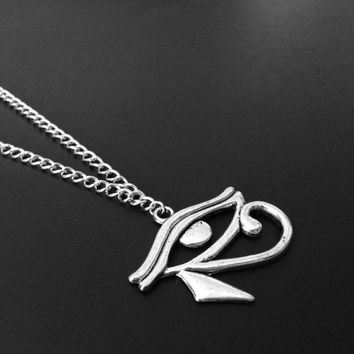 Eye of Horus, Eye Necklace, Egyptian Jewelry, Silver Necklace, 90s Jewelry, Grunge Jewelry, Horus Necklace, Protection, Good Health