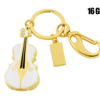 Violin Shaped 16GB USB Flash Drive Keychain