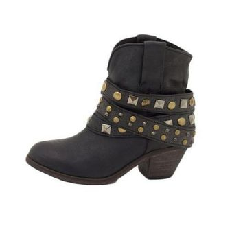 LMFYW3 Corral Black Studded Wrap Ankle Boots P5021