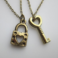 Heart Lock and Key Necklaces. His and Hers Bestfriend or Couple Necklaces