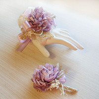 Light Purple, Lavender Wrist Corsage and/or Boutonniere, Sola Flowers, Rustic Country Wedding, Corsage & Boutonniere. Made to Order.