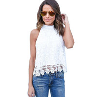 Women Blouse Summer Lace Backless shirt Tank Tops Blouse White Elegant Women's Fashion Tops & Blouses #LSN