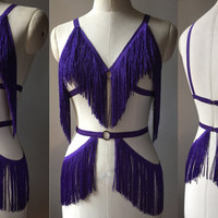 Shimmy Fringe Burlesque Costume Cage Bra and Belt with Circle Detail Made to Order