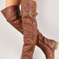 Buckled Zipper Round Toe Riding Over-The-Knee Boots