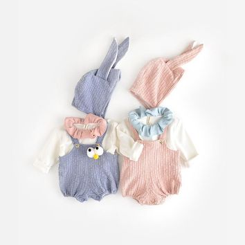 2017 Infant fashion baby Boys girls bunny rabbit solid rompers Baby Rompers + rabbit ear hat Jumpsuit toddler baby Clothing