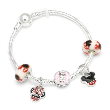 European Style Cartoon Mickey Mouse Charm Bracelets & Bangle Fashion Original DIY Red Minnie Pandora Bracelet for Women Jewelry