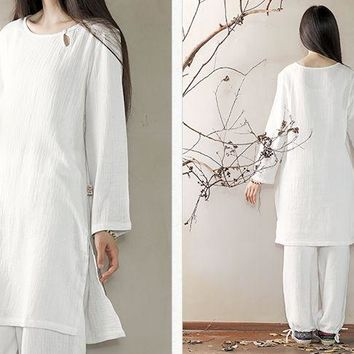 pure cotton women Spring&Summer yoga suits zen Lay meditation clothing  tai chi uniforms white