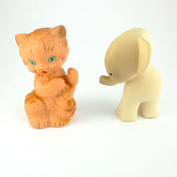 Cat and Elephant Colorful Orange Yellow Rubber Toy, a Soviet Vintage, 1970's, Soviet Toy, Russian Toy