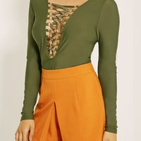 Olive Drab Plunged Front Lattice Detail Long Sleeve Bodysuit