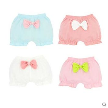 Hot Shorts 4pieces/lot Girls  kids knickers cotton soft cute bowknot Pure Color chlidren underpanties free shippingAT_43_3